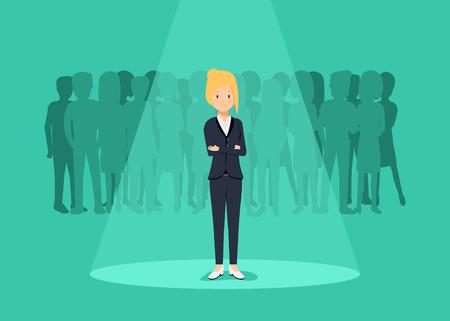 Recrutement d'entreprise ou concept de vecteur d'embauche. À la recherche de talent. Femme debout sous les projecteurs ou searchligh Banque d'images - 88224219