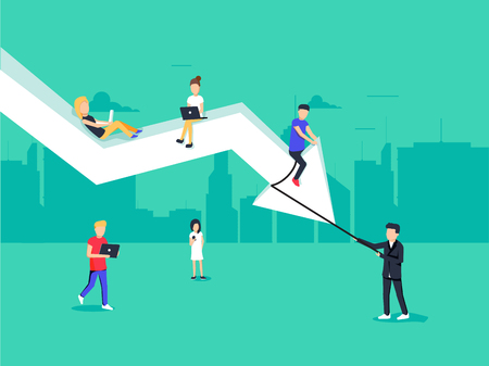 Ilustración de concepto de reducción de costo empresarial del equipo de negocios sentado en la flecha grande.