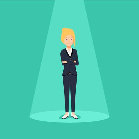 Businesswoman standing vector illustration.