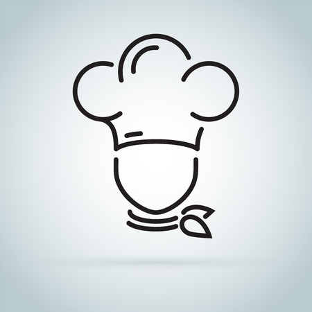 Chef in a cooking hat vector outline logo. Kitchen simple black icon. Stock Photo
