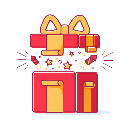 Vector Line Icons Of Christmas Gift Box With A Firework. Cute ...