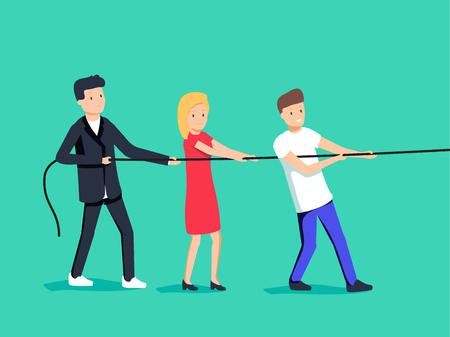 Vectorillustratie in trendy vlakke stijl en kleuren - teamwerkconcept - mensen die kabel trekken