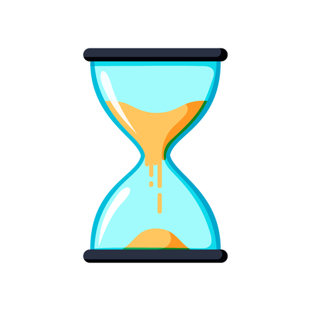 sand watch: Hourglass antique instrument. Hourglass as time passing concept for business deadline, urgency and running out of time.