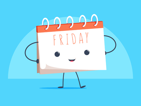 Happy calendar cartoon mascot character smiling on Friday page vector illustration.