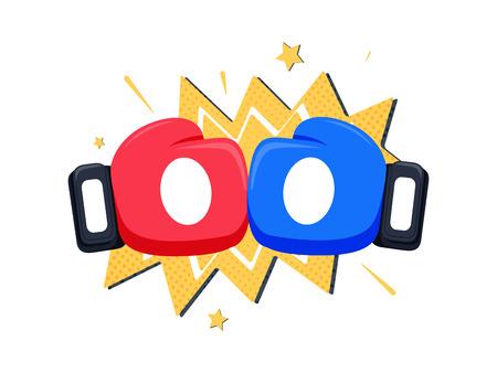 vs: Boxing gloves fight icon, red vs blue. Battle emblem cartoon vector illustration. Illustration
