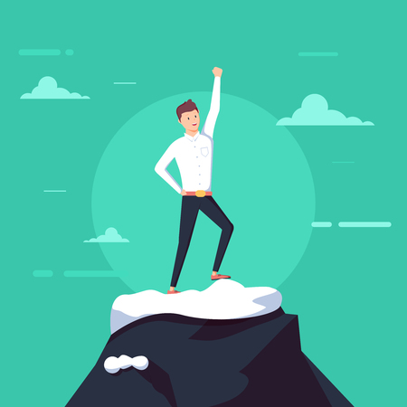 Successful businessman stand on top of mountain. Happy businessman with arms up celebrating his victory. Illustration with funny clerk. Vector illustration on business and office employees.