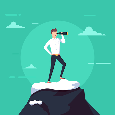 Successful businessman holding spyglass stand on top of mountain. Searching for new business opportunity. Illustration with funny clerk. Vector illustration on business and office employees.