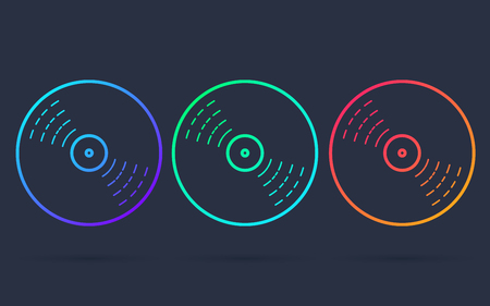 Vinyl record disc, thin line icon or logo for web or app in bright neon colors. Disco music vinyl set isolated on background vector symbol illustration