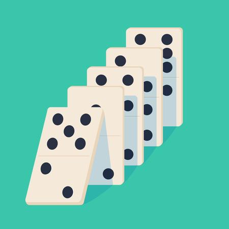 Dominó cayendo. Concepto de efecto dominó Ilustración de vector de proyección aislada en el fondo. White Icon juego de dominó. Juego de mesa Domino para web. Ilustración de vector