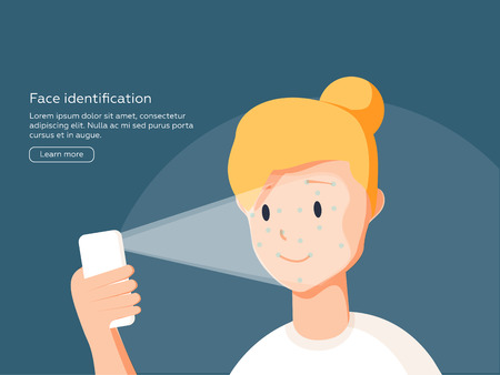Face identification of young woman. Vector illustration of woman holds smartphone in her hand for getting access to device via face recognition technology.  イラスト・ベクター素材