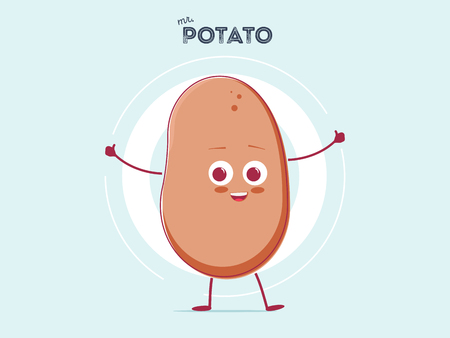 vector funny cartoon cute brown smiling tiny potato isolated on white background. My name is potato vector concept. vegetable funky character