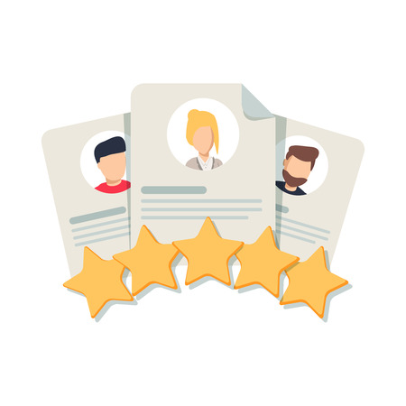 Clients Review, Customer Feedback, Users Comment or Satisfaction Level. Portraits of three people and evaluation stars below. Flat outline vector icon, concept for Website, Mobile, Apps.