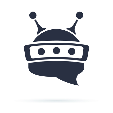 Chatbot icon. Bot sign design. Chat bot logo concept. Robot head in speech bubble. Online support service bot. Modern flat illustration isolated on white Stock Photo