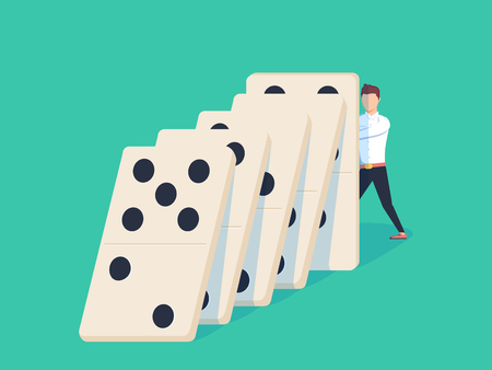 Flat style businessman trying to stop falling domino. Business crisis management and solution concept. Concept of Domino effect and protection. Vector illustration isolated on background. Stock Photo