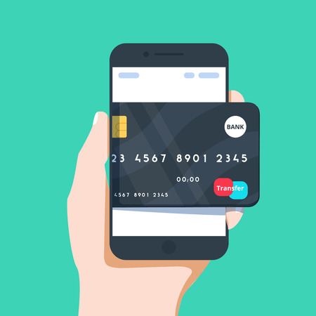 Vector business illustration of hand and mobile phone with credit vector vector business illustration of hand and mobile phone with credit card icon in flat style graphic design concept of experience internet banking reheart Images
