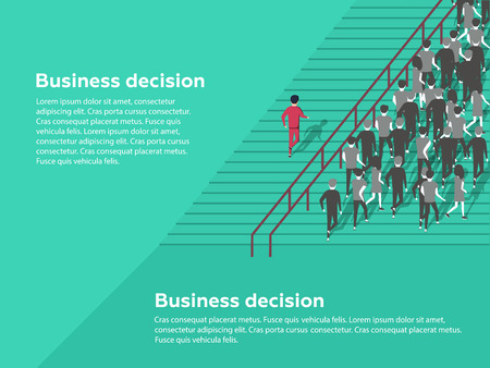 Business decision concept. Possibilities. Confident businessman selecting the best solution. Unique choice among many dark ones. Standing out from crowd, individuality and difference concept.