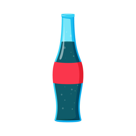 Beverage cola soda carbonated drink bottle. Refreshing Bubbly Drink Pop. Soft drink. Vector flat style cartoon illustration isolated on white background
