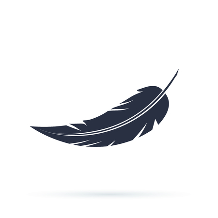 Feather vector icon isolated on white background. Vector illustration in a flat style, Silhouettes of dark feather as element for design. Illustration