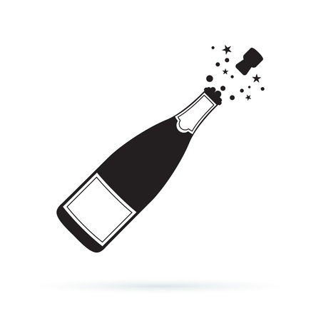 Illustration of champagne bottle explosion icon. Vector symbol illustration isolated on white background. Open Champagne bottle, holiday toast, cork jumping out with blow