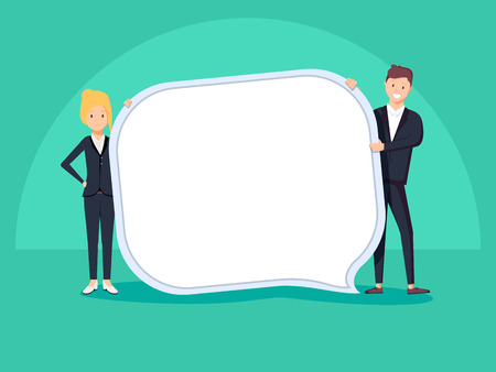 Businessman and woman hold speech bubble. Vector, illustration, flat. Team work. young business managers holding chat icon with space for text. Cool flat design corporate people.