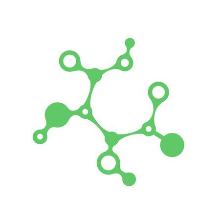 Prebiotic icon. Chemical structure of prebiotic substance symbol. Vector illustration healthcare concept. Green probiotics bacteria logo. concept of healthy nutrition ingredient