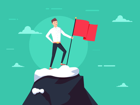 Purposeful businessman with flag in hand. Beginning of way to achievement of goal. Standing in front climb to mountain. Stock Photo