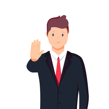 Vector illustration character portrait of businessman, raising hand, palm stretch forwards, body language saying no 版權商用圖片
