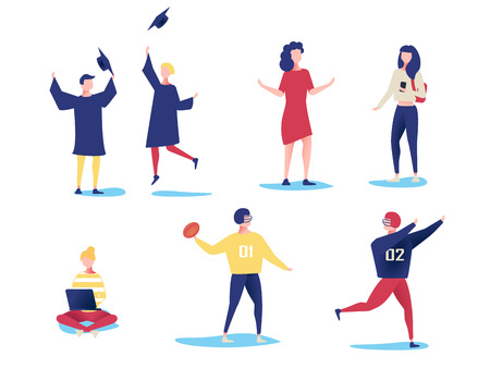 Student characters showing various activities isolated on white background. Vector modern flat design.