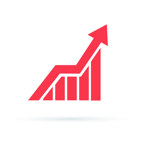 Growing graph icon, vector isolated flat style symbol. Illustration