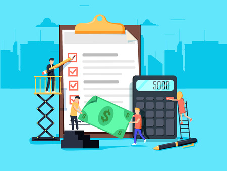 Payroll. Expenses, salary calculation concept. Flat design graphic elements, flat icons set. Premium quality. Modern concepts for web banners, websites, printed materials. Vector illustration