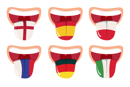 Foreign languages translation concept, online translator, open mouth with tongue with national flags of world countries on. Education icons set. Studying dialogue and translation metaphore