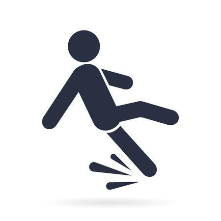 Val gevaar vector pictogram illustratie geïsoleerd op een witte achtergrond.