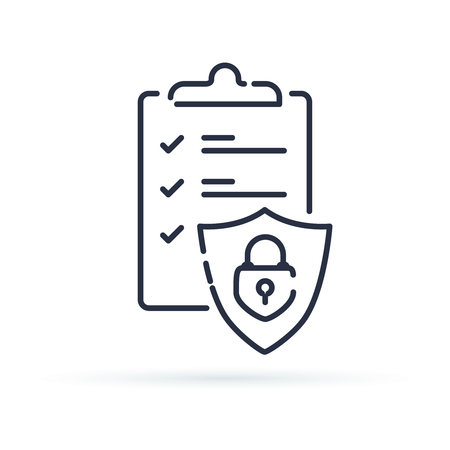 Insurance policy concept, check board and shield, data security, fraud analysis, vector line icon. Secured documents icon for web. Outline one line minimalistic symbol. Ilustração