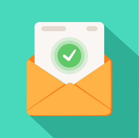 Envelope with document and round green check mark icon. Successful e-mail delivery, email delivery confirmation. Illustration