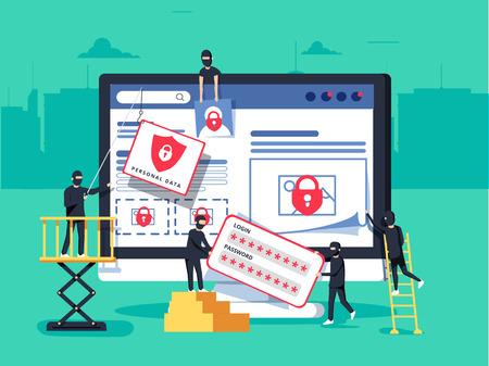 Hackers beroven computer. mensen in zwarte maskers die gegevens en geld stelen.