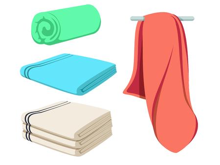 Kreskówka wektor zestaw składanych ręczników. Makieta kolorowego miękkiego ręcznika plażowego. Wyczyść wycieraczkę.