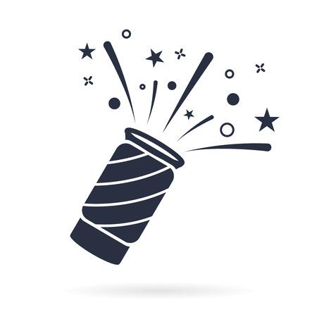 Vector de icono de confeti popper, signo plano lleno, pictograma sólido aislado en blanco. Símbolo de la celebración, ilustración del logotipo