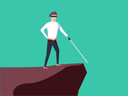Business vision, strategy, success vector concept with businessman standing on top of rock or mountain above hole Illustration