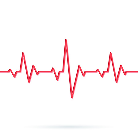 Heartbeat line. Seamless background. Vector illustration of Red heart rhythm ekg. Pulse Cardiogram pattern or icon