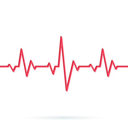 Línea de latidos del corazón. Fondo sin fisuras Ilustración de vector de ritmo de corazón rojo ekg. Patrón o icono de cardiograma de pulso