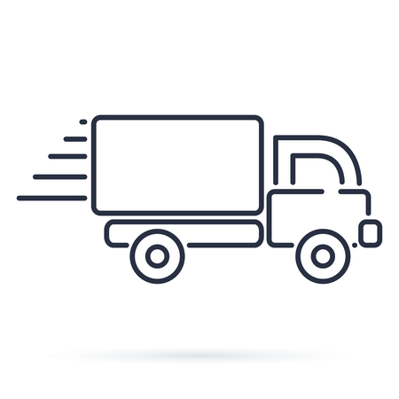 Fast shipping delivery truck icon. Vector symbol in flat style. Modern line icon on local delivery service van. Outline heavy vehicle