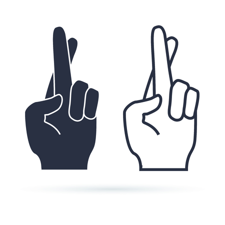 Fingers crossed, hand gesture. Lie, on luck, superstition symbol or modern icon. Vector illustration. Black hand silhouette and line vector sign. Illustration
