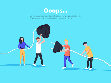 Ilustracja strony błędu. Ludzie trzymający odłączony kabel. Strona nie znaleziona. Ilustracja wektorowa koncepcji błędu 404 ze stroną naprawczą zabawnych kreskówek pracowników.