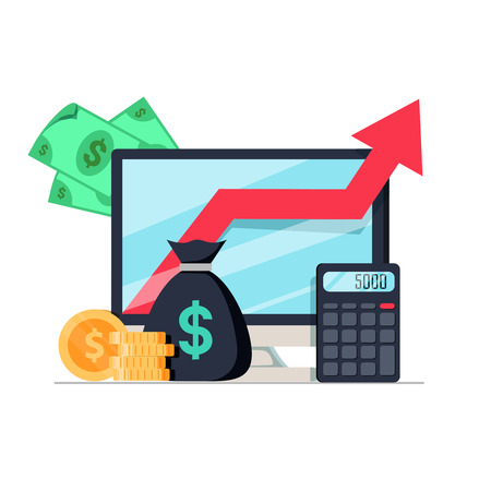 Income increase, financial performance analytics or long term investment and fund management. Revenue growth of interest rate dividends graph productivity report. Stock vector flat icon