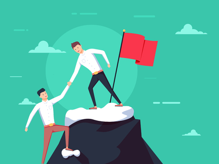 Teamwork concept. Two businessmen together rise on mountain with flag. Give help hand. Collaboration concept. Vector flat design. Isolated on background. Business people work together to achieve goal Illustration