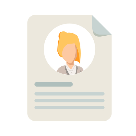 Personal info icon vector illustration isolated. Flat cartoon style of user or profile card details symbol. My account pictogram idea, identity document with person photo and text clipart