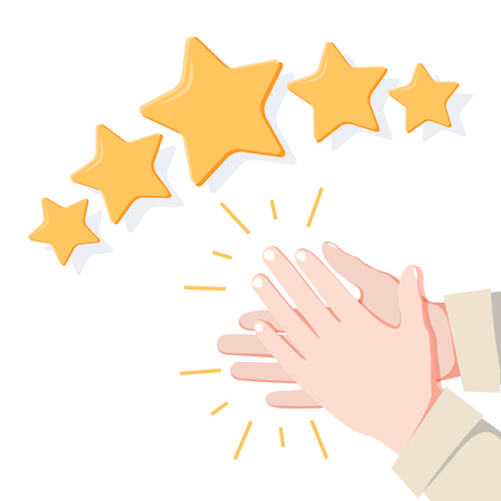 Hands applaud, positive five star feedback. Vector illustration flat. Victory or classification rating concept. Quality assurance survey. Illustration