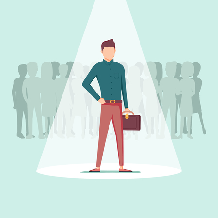 Businessman in spotlight isolated on background, curriculum, recruitment, HR, human resources management concept. Pick business people to hire. Candidate man for contract job vector flat design.