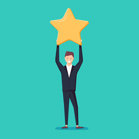Businessman hold a big gold star. Victory, rating vector, illustration, flat, positive star feedback. Victory or classification rating concept quality assurance survey. Illustration