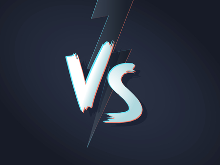 VS letters on ultraviolet background with lightning. Versus Vector Illustration. Poster symbols of confrontation VS. Vector illustration on a black background with a trendy minimalist style. Vettoriali